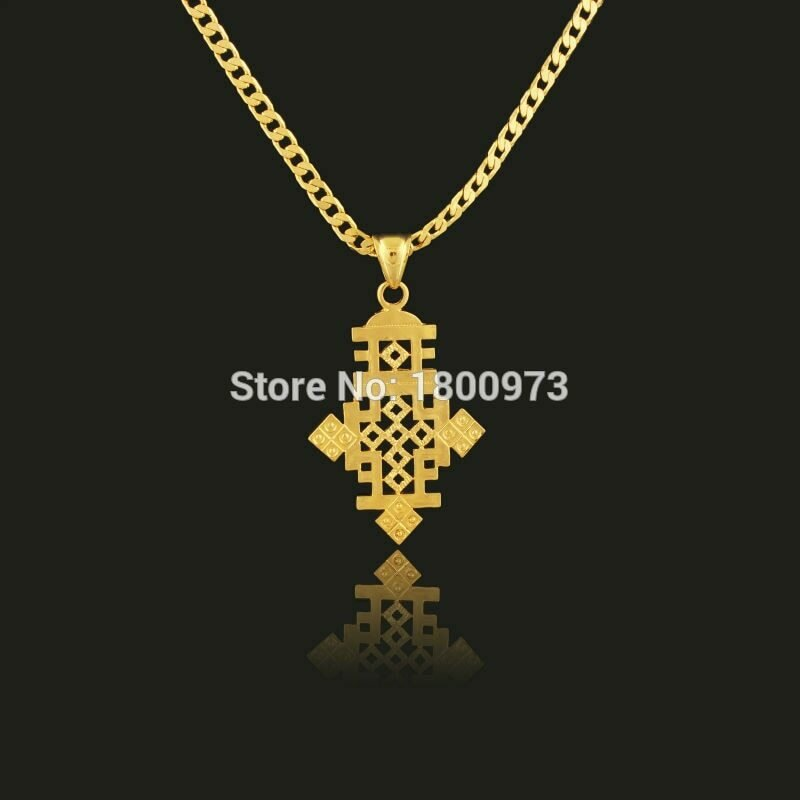 Necklace Ethiopia-Item Cross-Pendant Jewelry-Africa Christmas-Gift Gold-Color Men Women