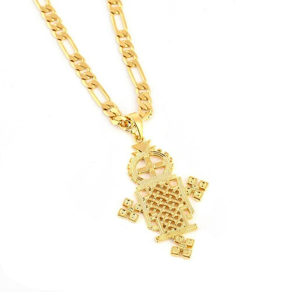 Ethiopian Gold Color Cross Pendant Necklace Eritrea African Christening Jewelry Gifts