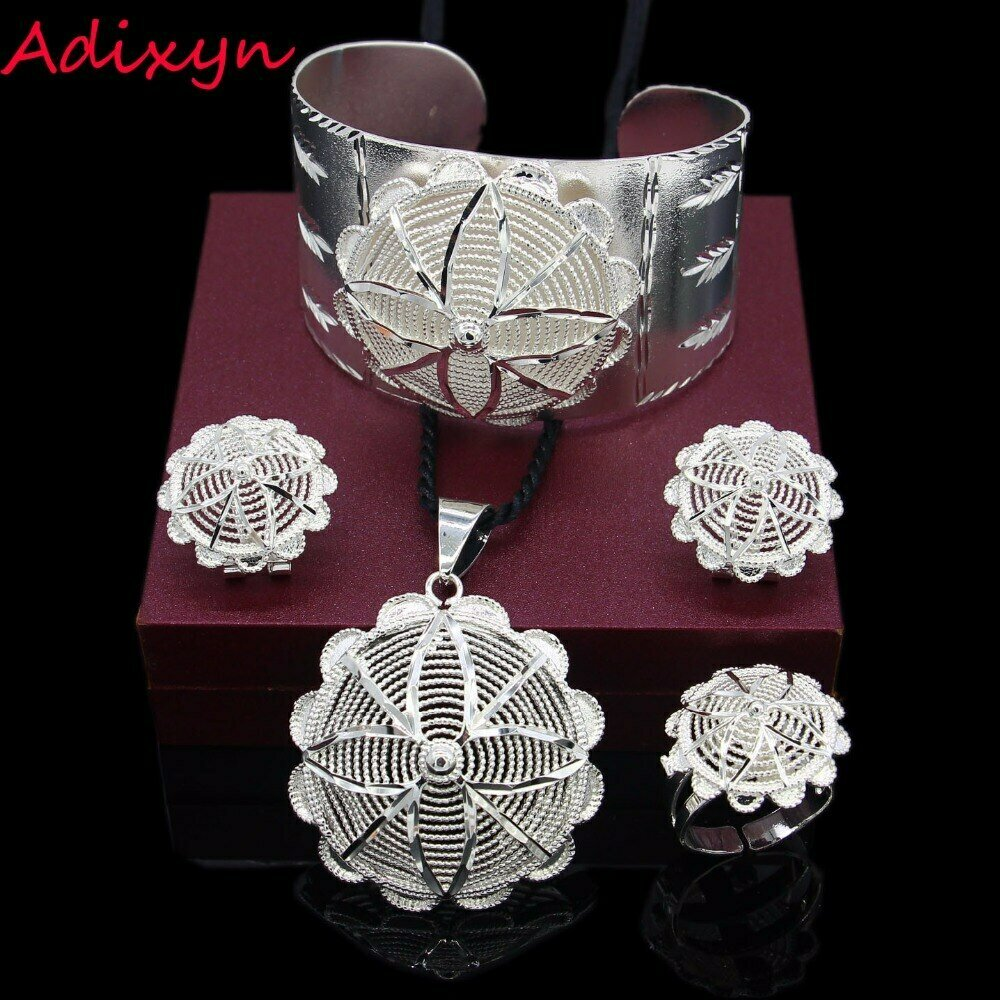 Jewelry-Set Earring/ring Ethiopian/african Bride Silver-Plated Adixyn Wedding NEW
