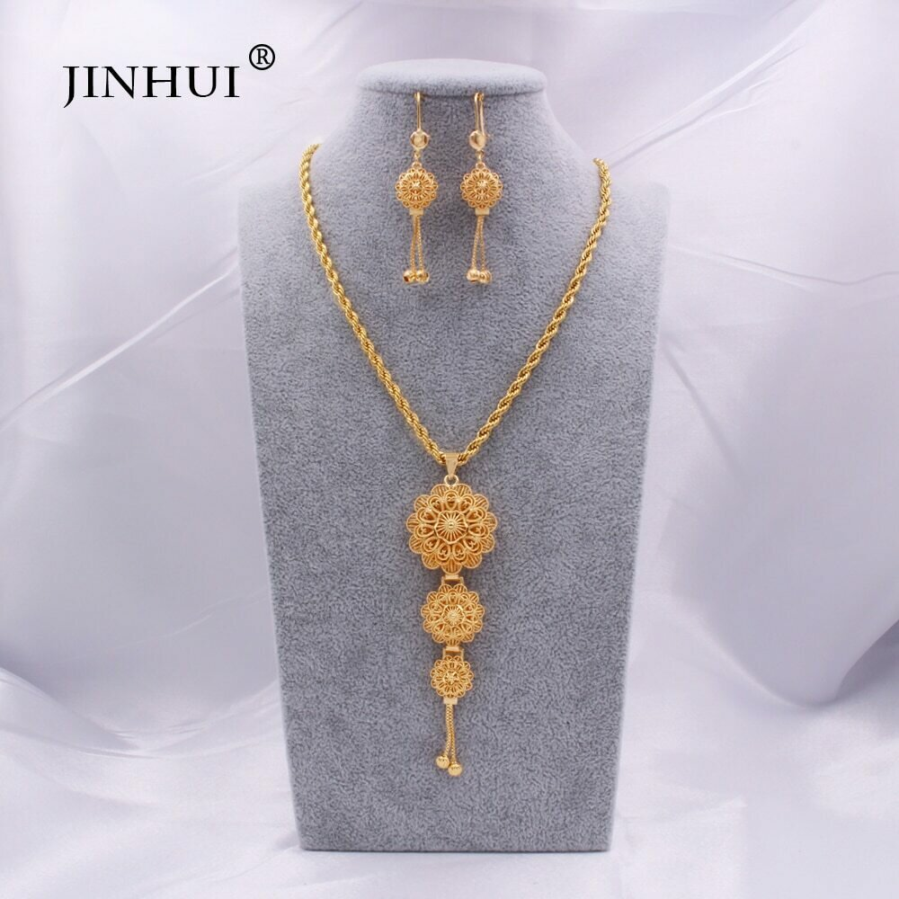 Earring Necklace Jewelry-Sets Bridal-Gifts-Set Dubai Ethiopian Gold Wedding-Party Indian