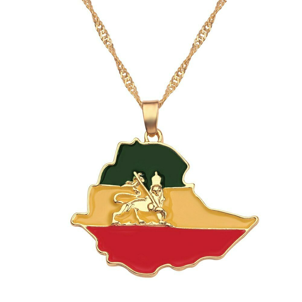 Pendant Necklaces Jewelry Ethiopian Flag Choker Lion-Map Gifts Africa Gold-Color Women/men