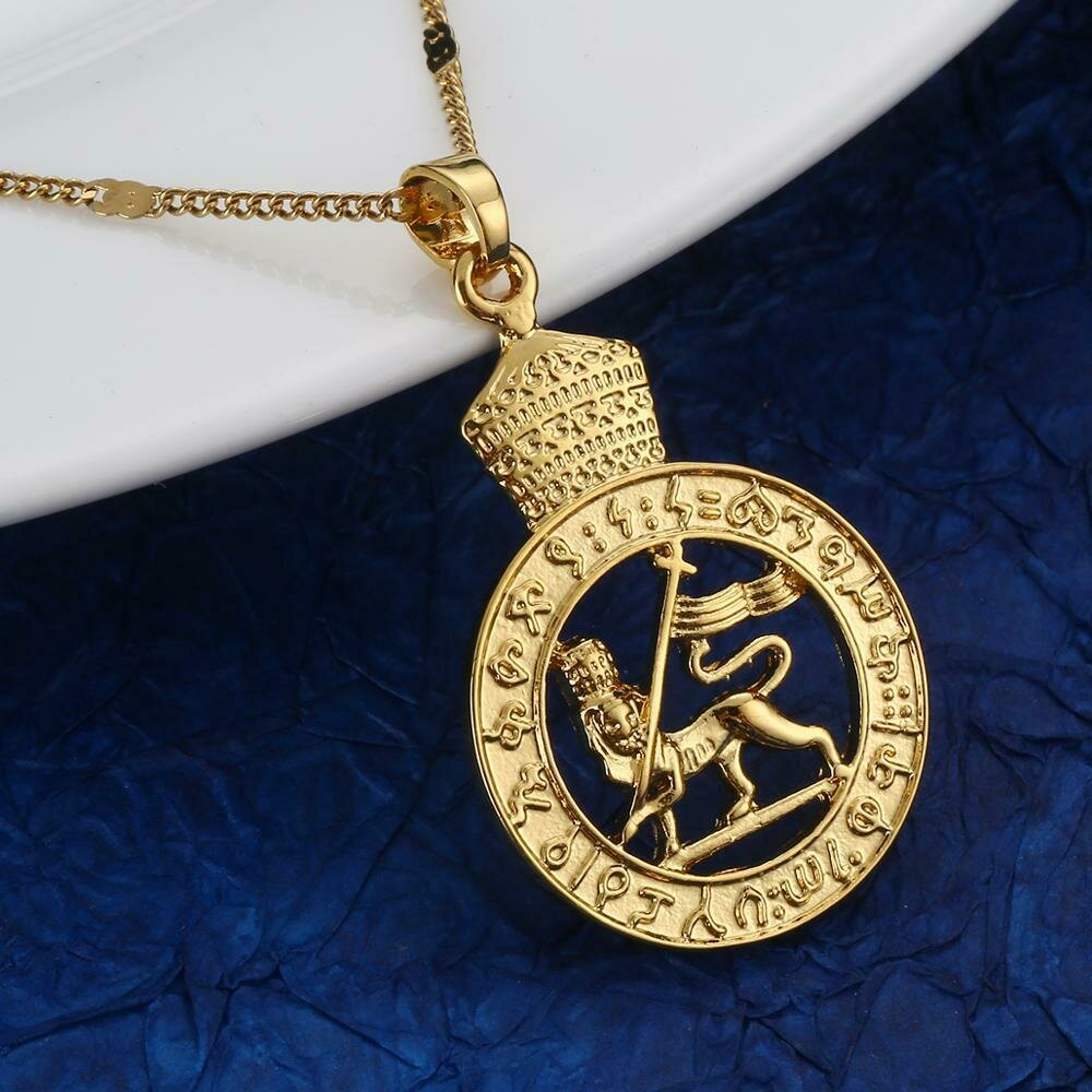 Gold Color Ethiopian Lion Pendant Necklace African Eritrea Trendy Round Chain Jewelry