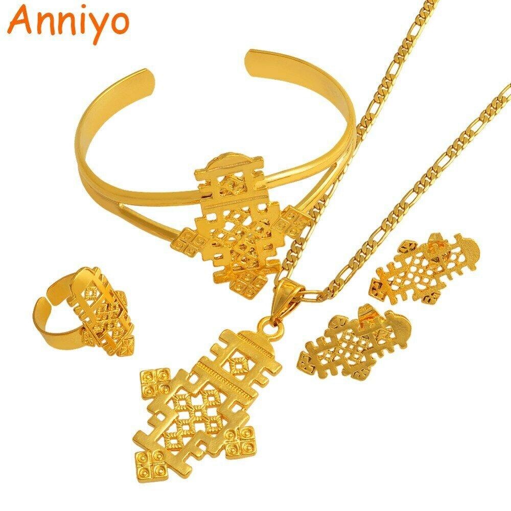 Ethiopian Cross-Jewelry Bangle/ring-Set Coptic African Anniyo Gold-Color Religion -042206