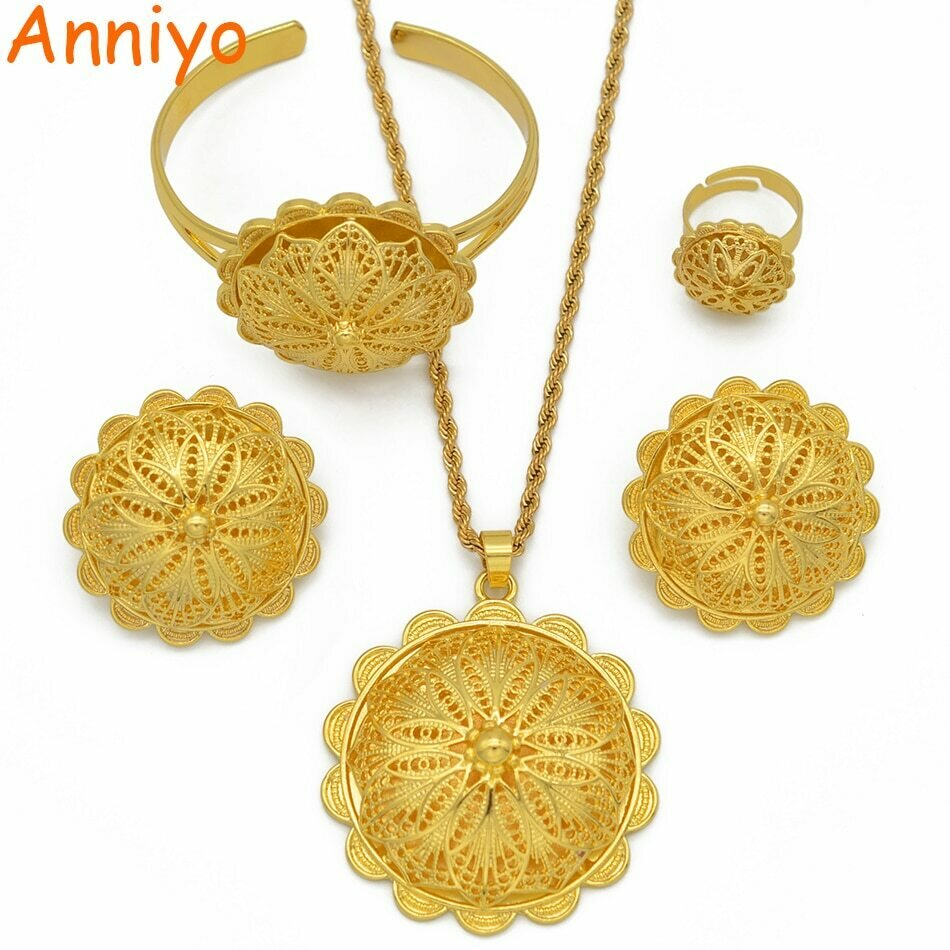 Ring-Bangles Necklaces Ethiopian Jewelry Wedding-Gifts Eritrean Gold-Color African Pendant