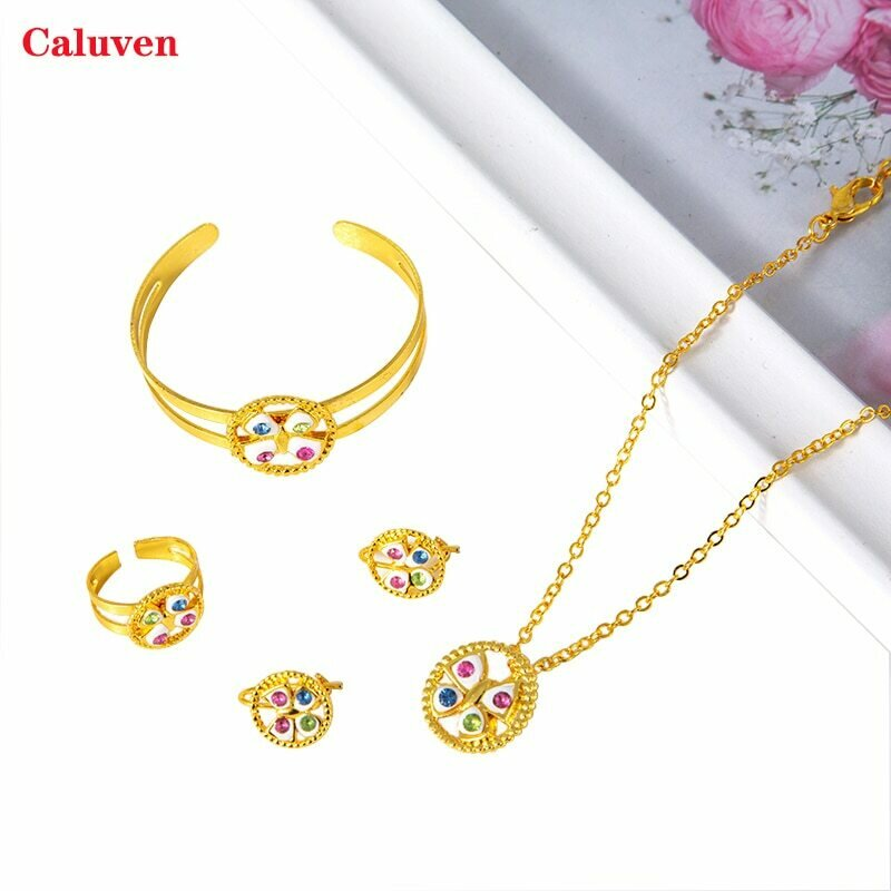 Bangles Jewelry-Sets Ethiopian Baby-Girls African Rings Dubai Gold-Color Kids for Arab