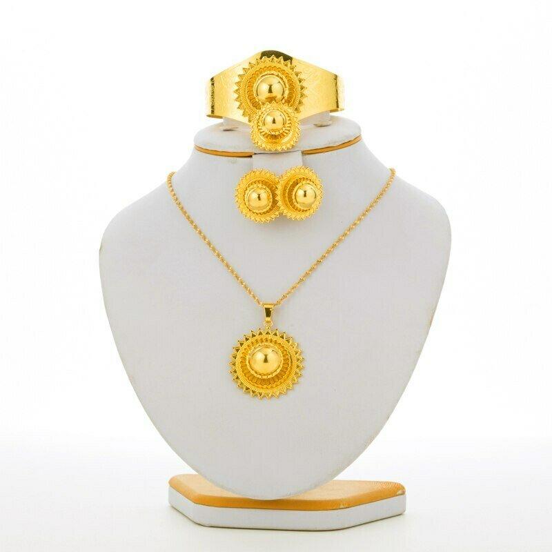 Jewelry-Sets Habesha Ethiopian National Eritrea Gifts Gold-Color Festivals
