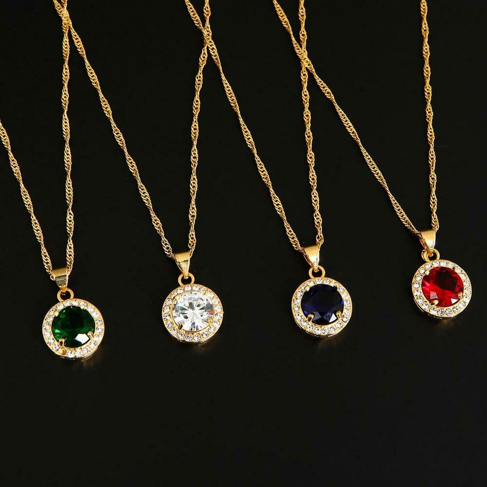 Pendant Necklace Ethiopian Trendy Jewelry Green Crystal Charms Zircon Gold-Color Fashion
