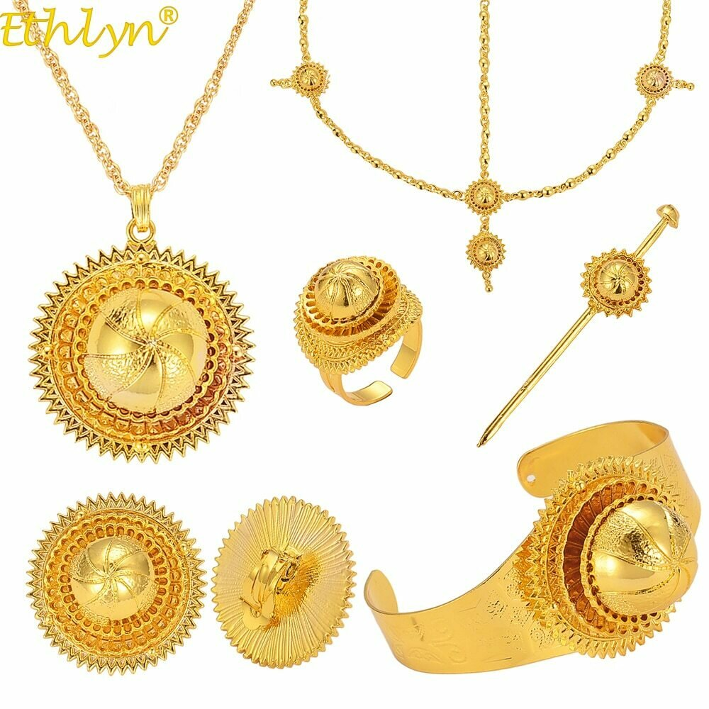 Jewelry-Sets Habesha Ethiopian Traditional Eritrean African Ethlyn Wedding-Party Gold-Color