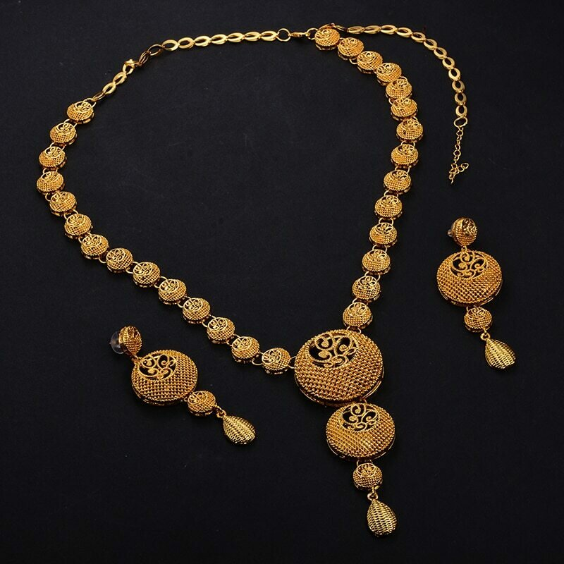 Jewelry-Set Ethiopian African Earring/Gift-Box Eritrea Hairchain Gold-Color Band
