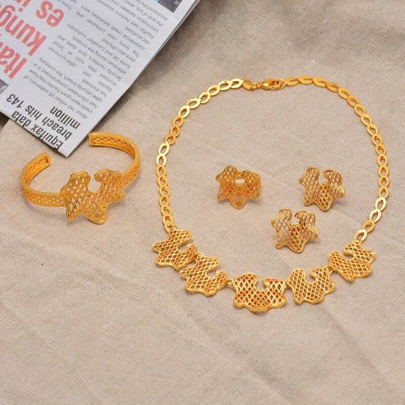 Wedding-Jewelry-Set Ethiopian Bangles Earring Beads Fashion Necklace Dubai Africa Gold-Color