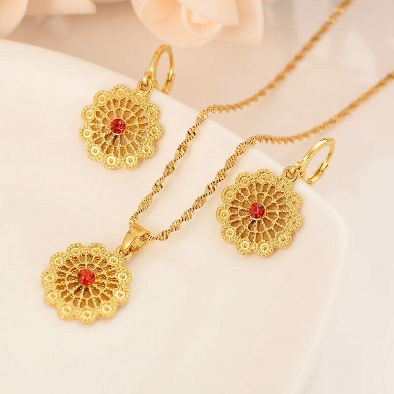 Earrings Jewelry-Sets Necklace Habesha Ethiopian Bridals Eritrea Gift Pendnat Africa