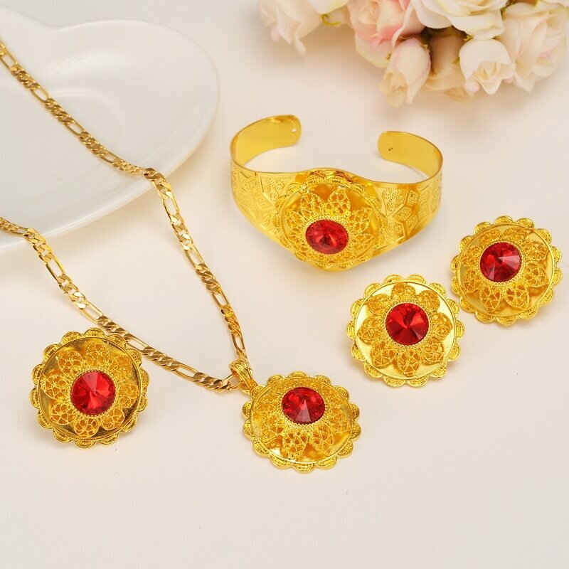 Jewelry-Set Habesha Ethiopian Crystal Eritrea Gold Hair-pin/earrings/Ring Bridal Wedding