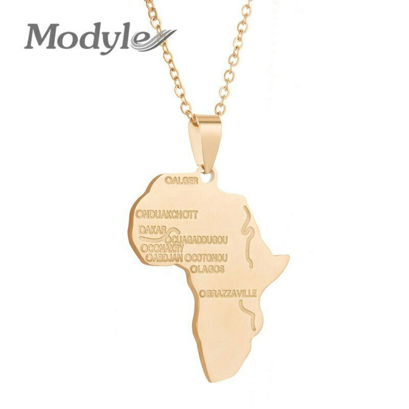 Africa Necklace Chain Pendant Ethiopian Jewelry Gift Gold-Color Men/women Trendy Modyle