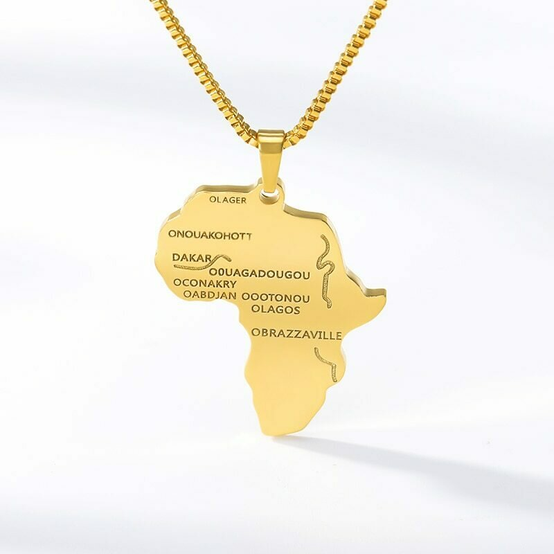 Box Chain Africa Necklace Gold Color Pendant Choker Necklace African Map Hiphop Gift
