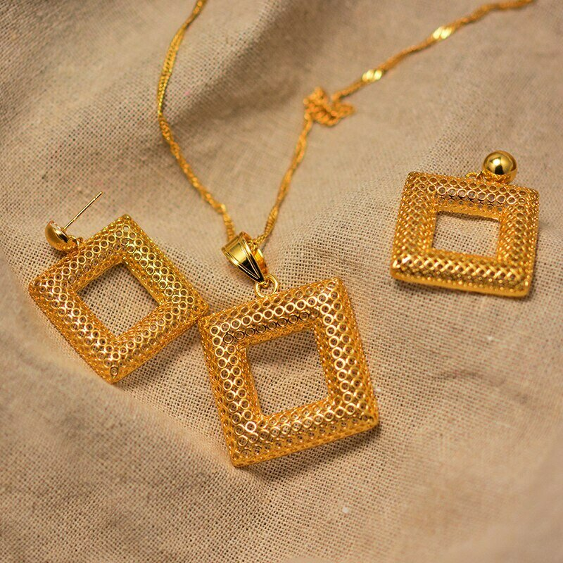 Jewelry-Sets Necklaces-Earrings Ethiopian-Pendant Wedding-Jewellery African Dubai Gold-Color