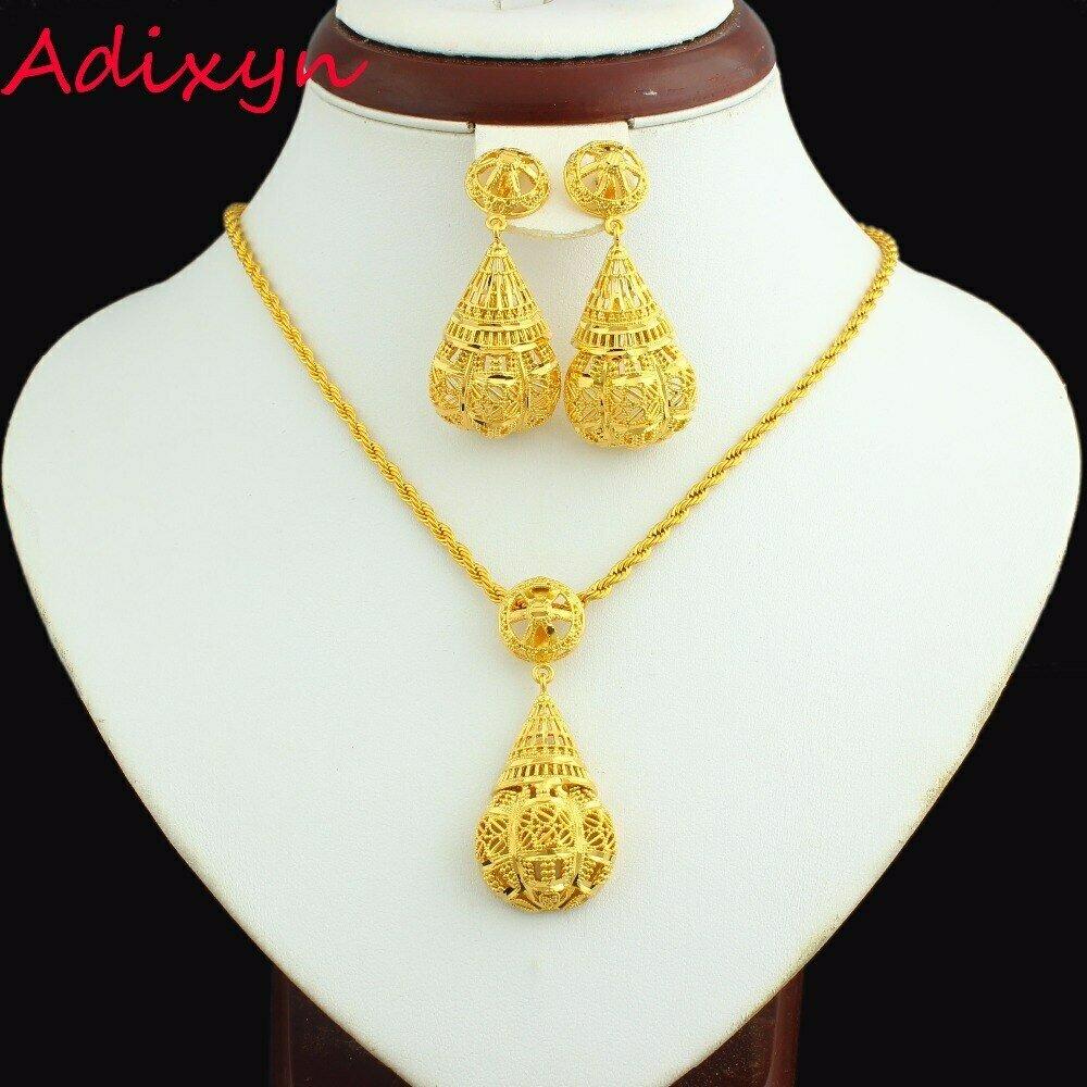 Jewelry-Set Ethiopian India/habesha Necklace/pendant 24k-Gold-Color Adixyn Conic Giifts