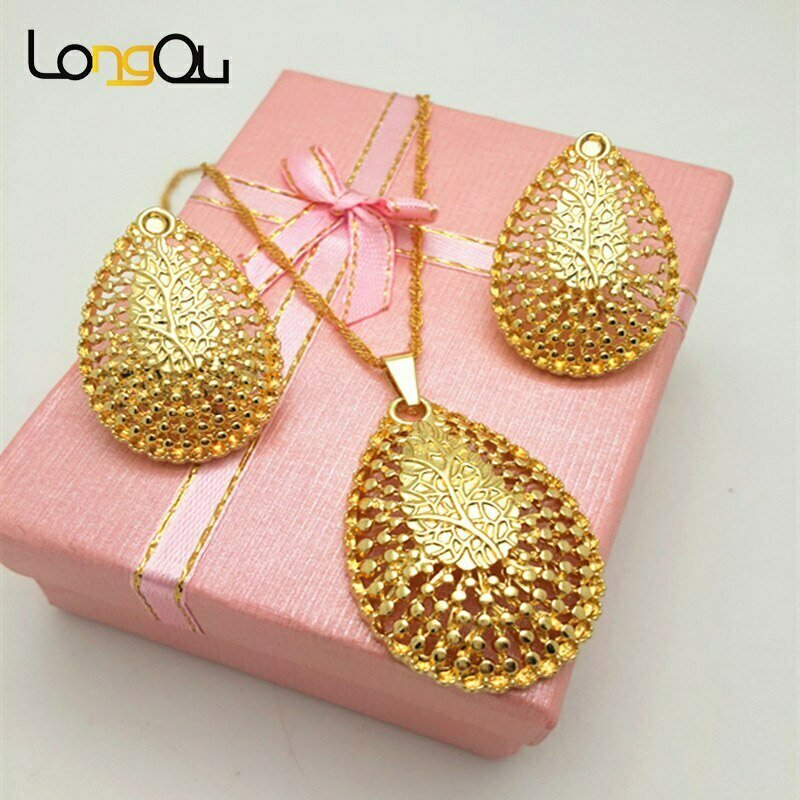 Jewelry-Sets Wedding-Necklaces Pendants/earrings-Set Wholesale Women Overgild