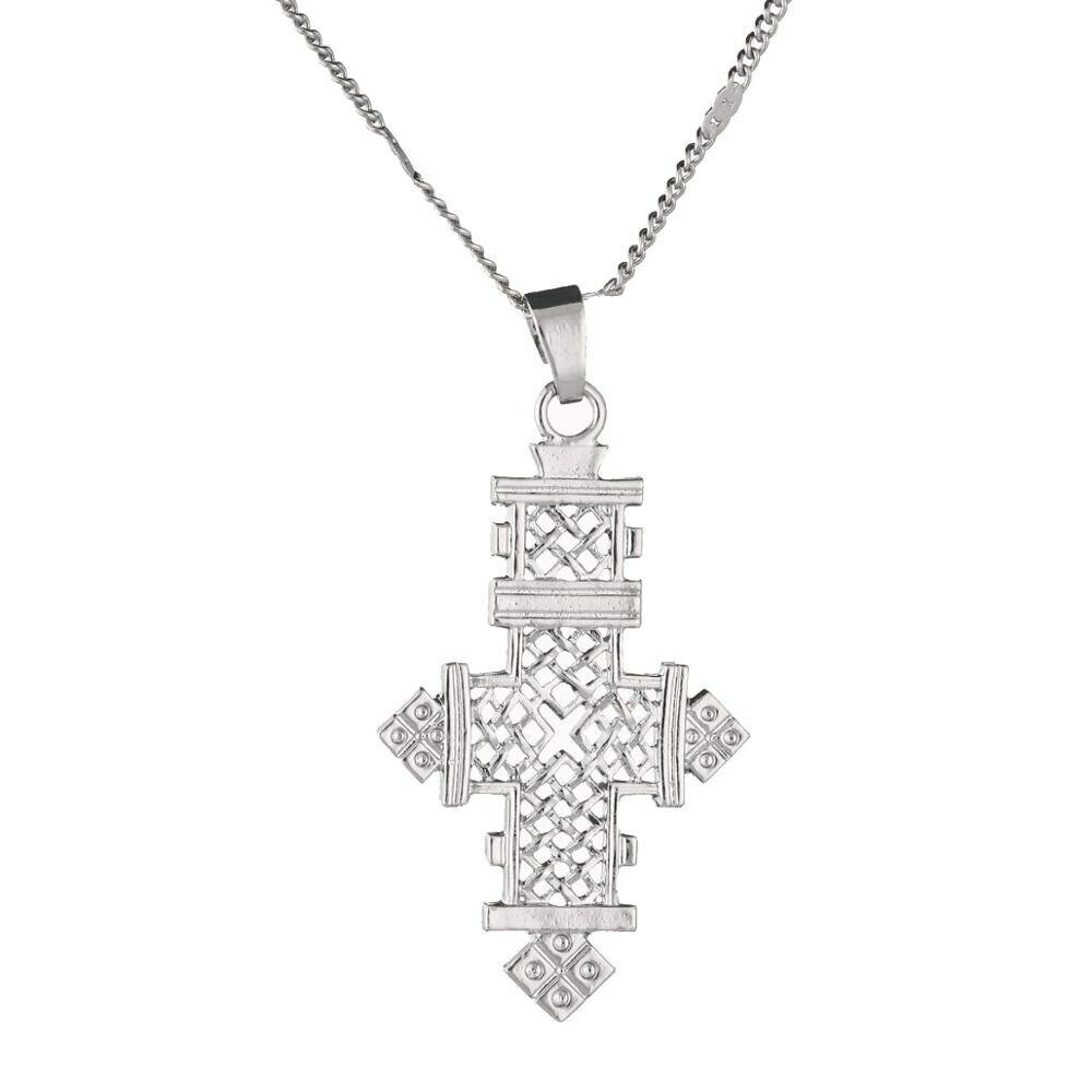 Cross Pendant Necklace Jewelry Chain Ethiopian Silver-Color Women Trendy Gifts