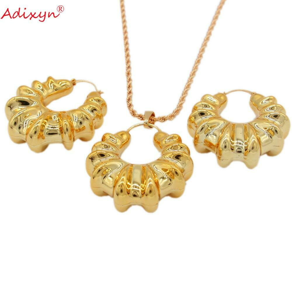 Jewelry-Sets Pendant/necklace India/nigerian Women/girls Rose-Gold-Color Adixyn for N031914