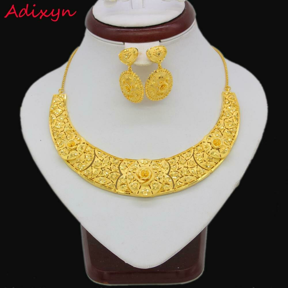 Jewelry-Set Earrings Necklace Ethiopian Gifts Bridal Wedding/party Gold-Color/copper