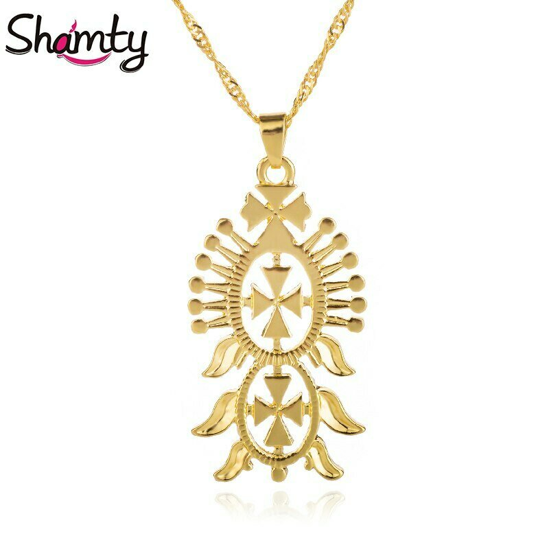 Pendant Necklace Ethiopian-Style Shamty Coptic Jewelry Chain-Filled GIFT Gold-Color Cross-Abyssinia