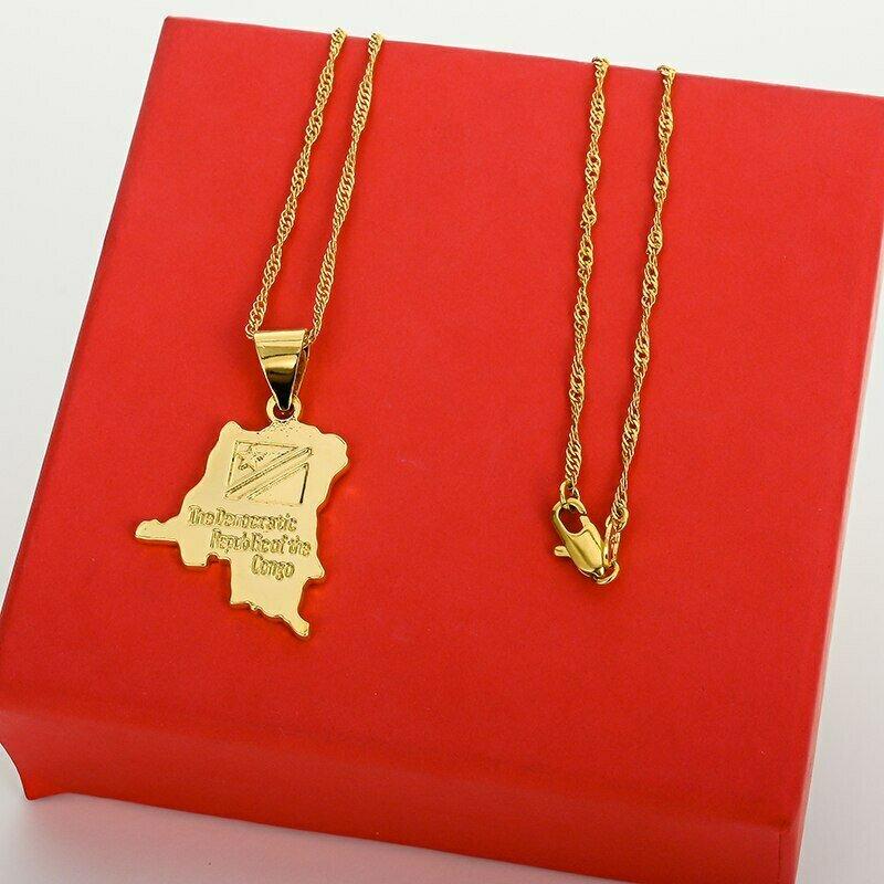 Pendant Necklace Ethiopian-Jewelry Africa-Map Wholesale Women Hip-Hop-Item Silver-Color/gold-Color