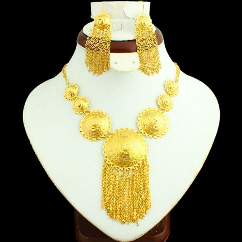 Bridal-Jewelry-Sets Ethiopian Nigeria/arabic Gifts Gold-Color Women 24K NEW