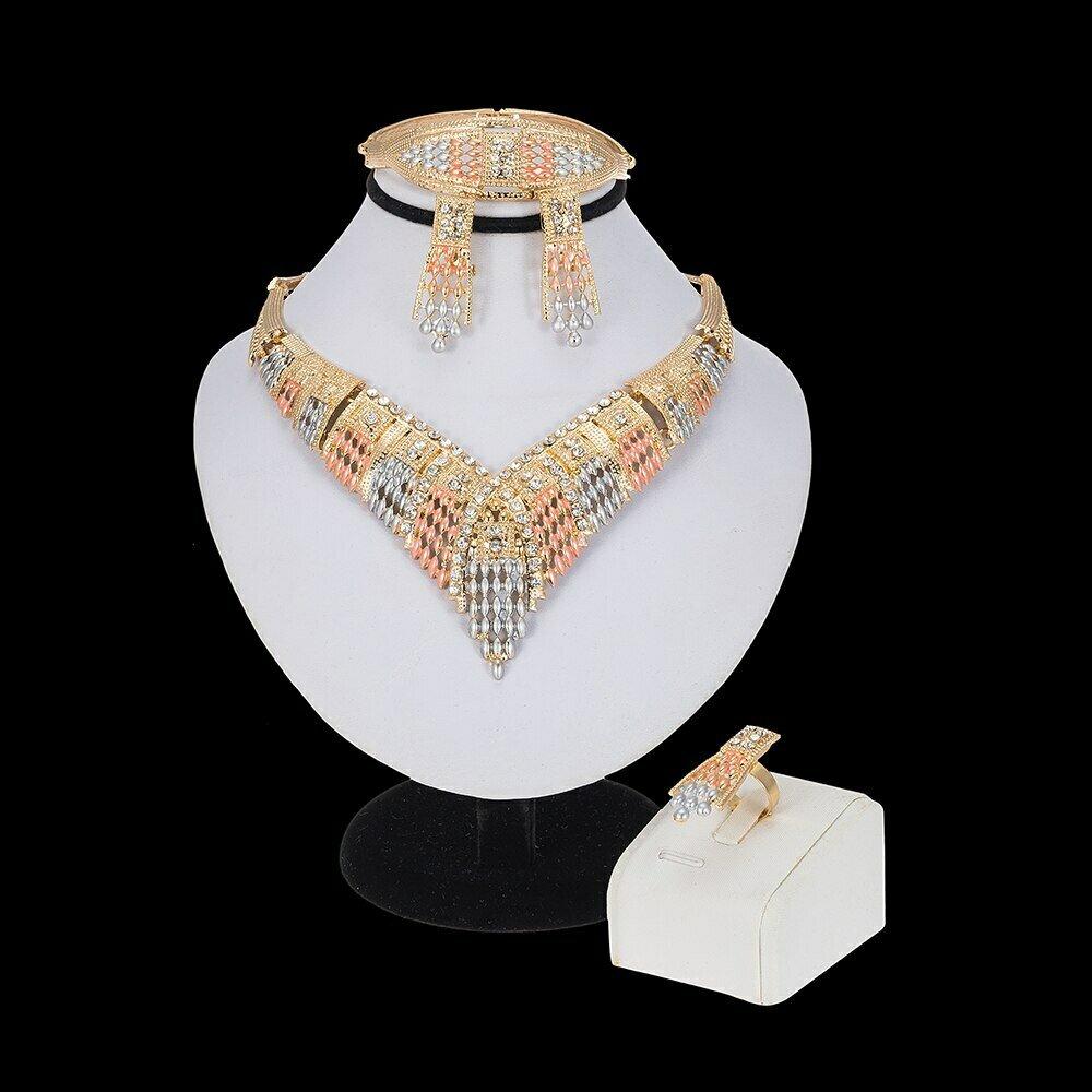 Dubai Gold Jewelry-Sets Ethiopian Nigerian Beads Flowers Necklace African Wedding Women