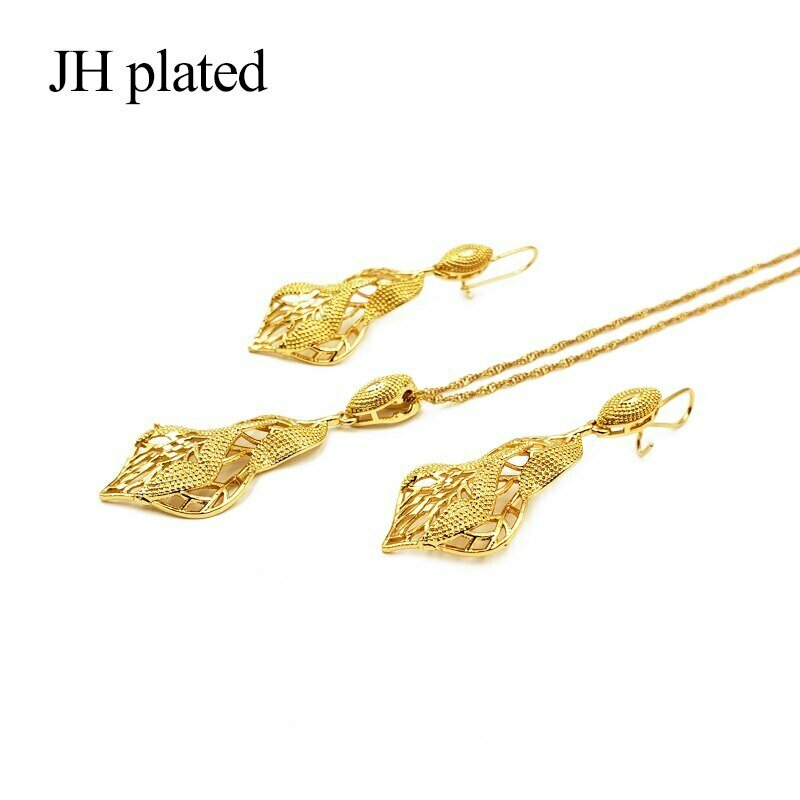 Pendant Earrings Necklace Ethiopian Jewelry Gold-Color Women Wedding Jhplated