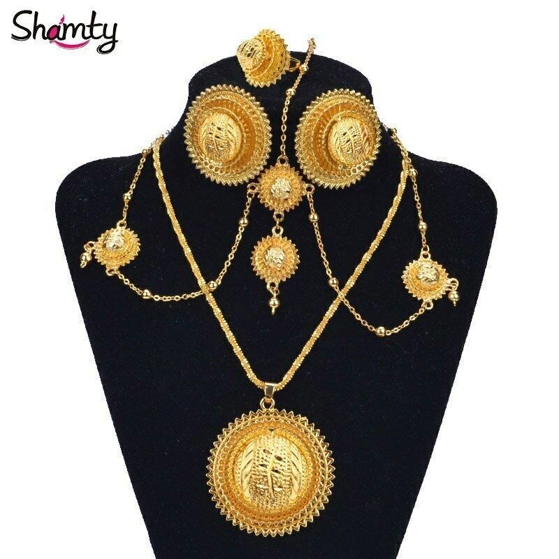 Gold-Sets Ethiopian Kenya Bridal-Jewelry Eritrea Wedding Nigeria African Shamty Hot-A30034