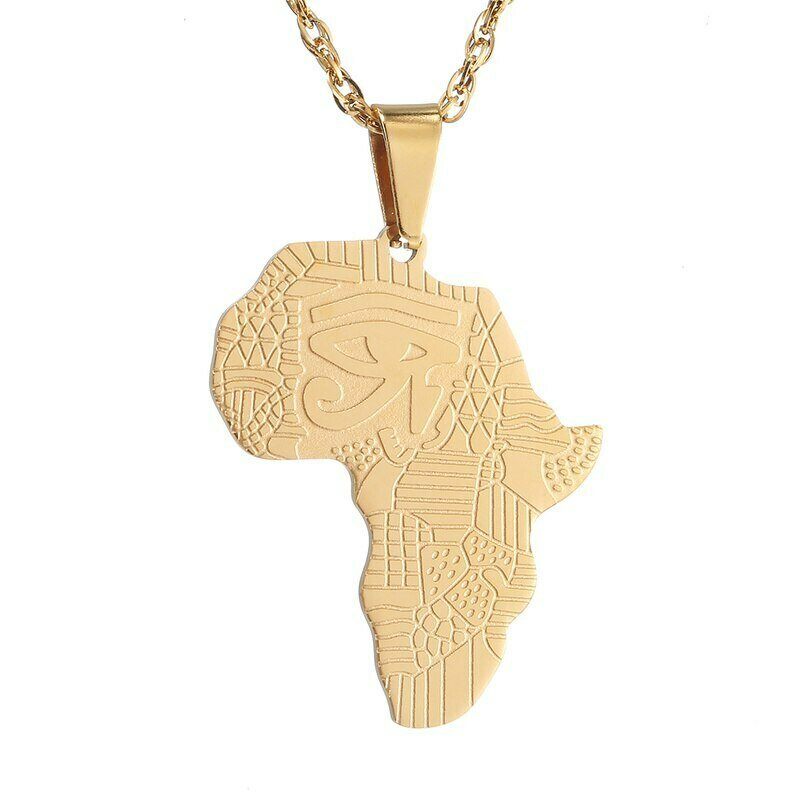 Africa Map Pendant Necklace for Women Men Stainless Steel Necklaces Ethiopian Jewelry