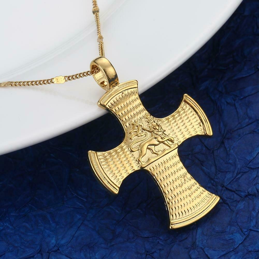 Necklaces Ethiopian Cross-Pendant Coptic Jewelry Chain Gold-Color Trendy