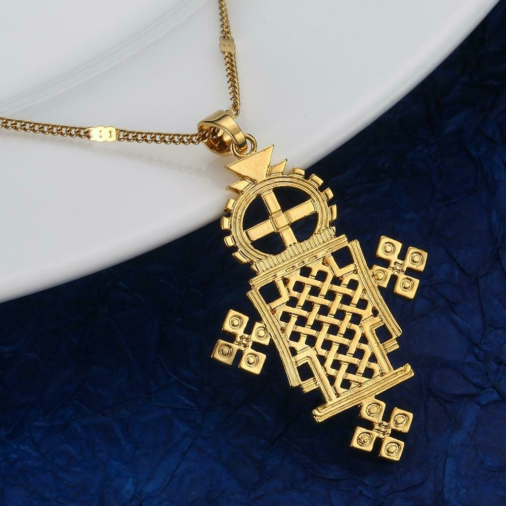 Necklace Ethiopian Coptic Jewelry Crosses-Chain Gold-Color Fashion Eretrian