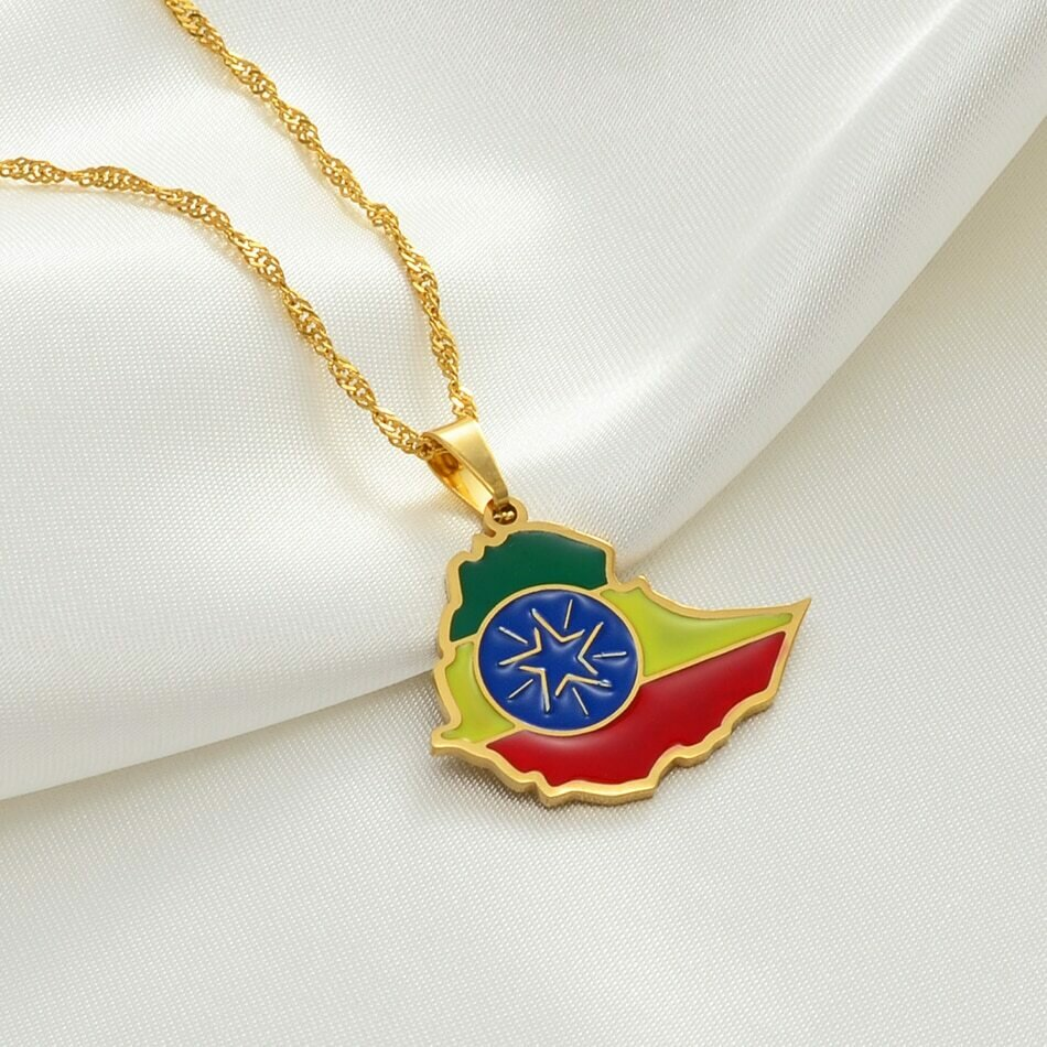 Necklaces Ethiopian Africa Jewelry Flag-Pendant National Gold-Color -148621 Map Anniye