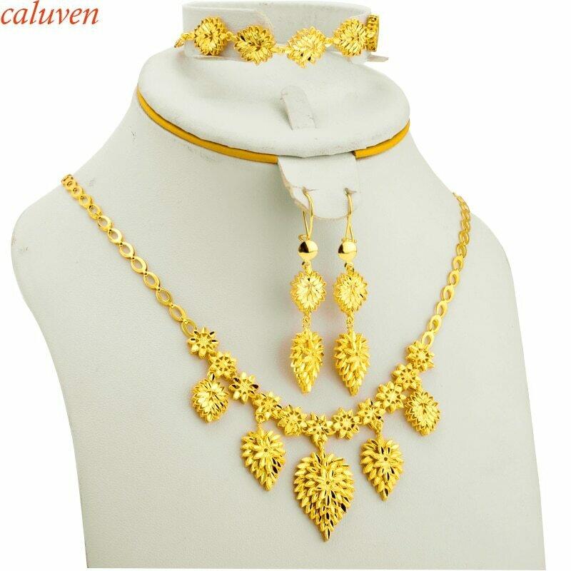Jewelry-Set Arab Bracelet/earrings Bride Wedding-Gift African Ethiopian Gold-Color Women