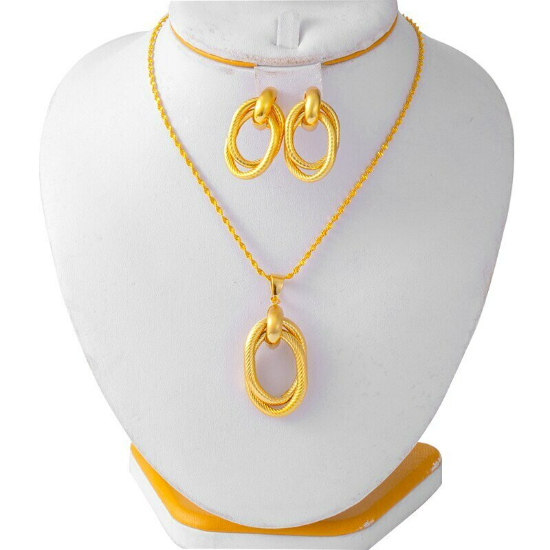 Jewelry-Set Earrings Ethiopian Necklace African Nigerian Dubai Wedding-Gift Women Habasha