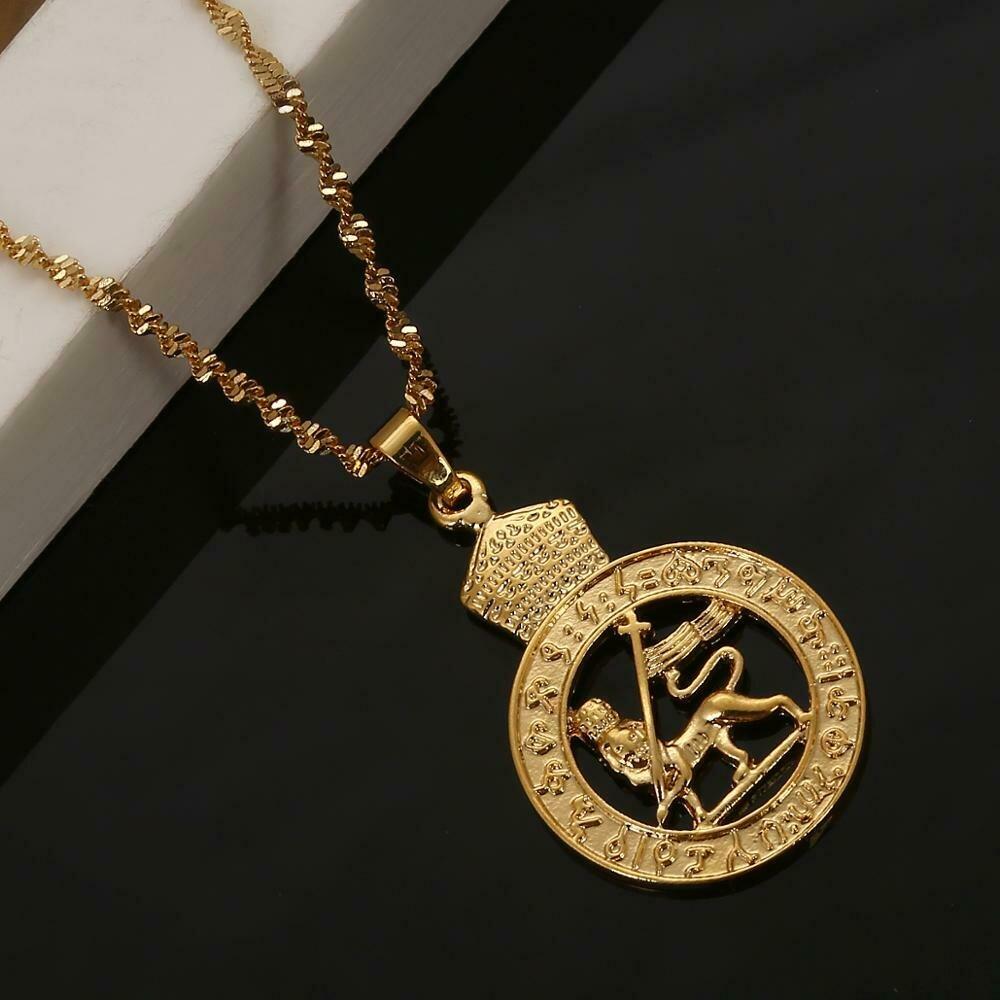 Chain Jewelry Lion Pendant Ethiopian Necklace African Gold-Color Eritrea Round