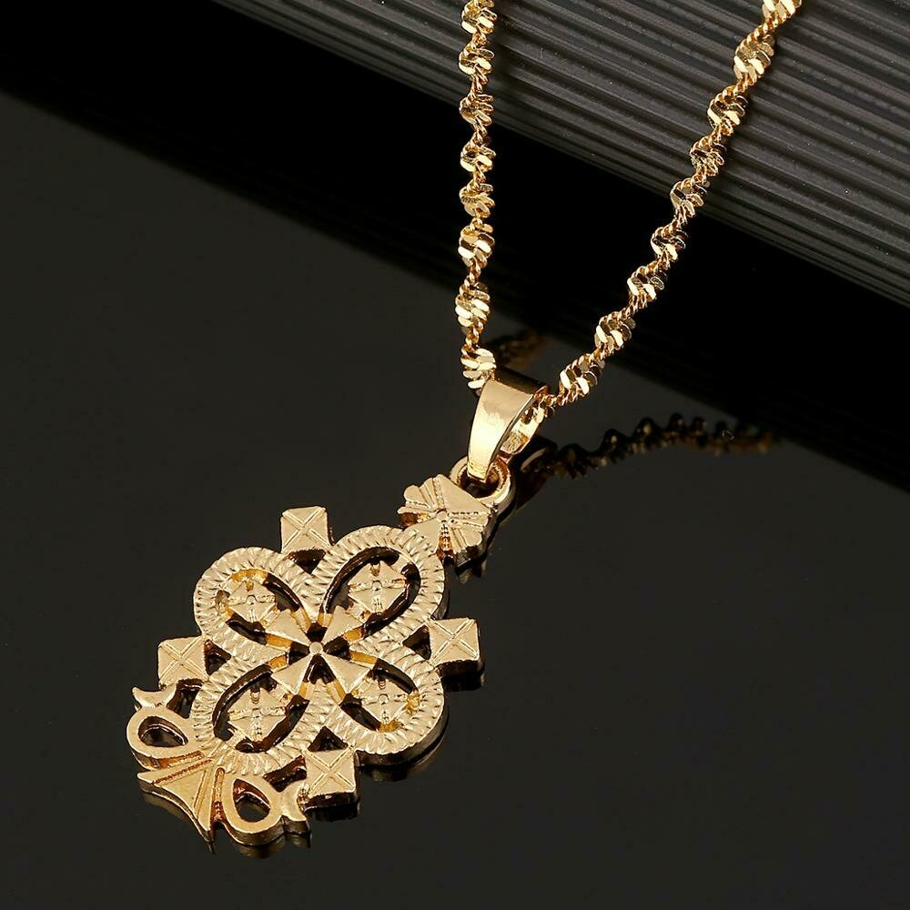 Necklaces Ethiopian Jewelry Cross-Pendant Gifts Christening Gold-Color African Eritrea
