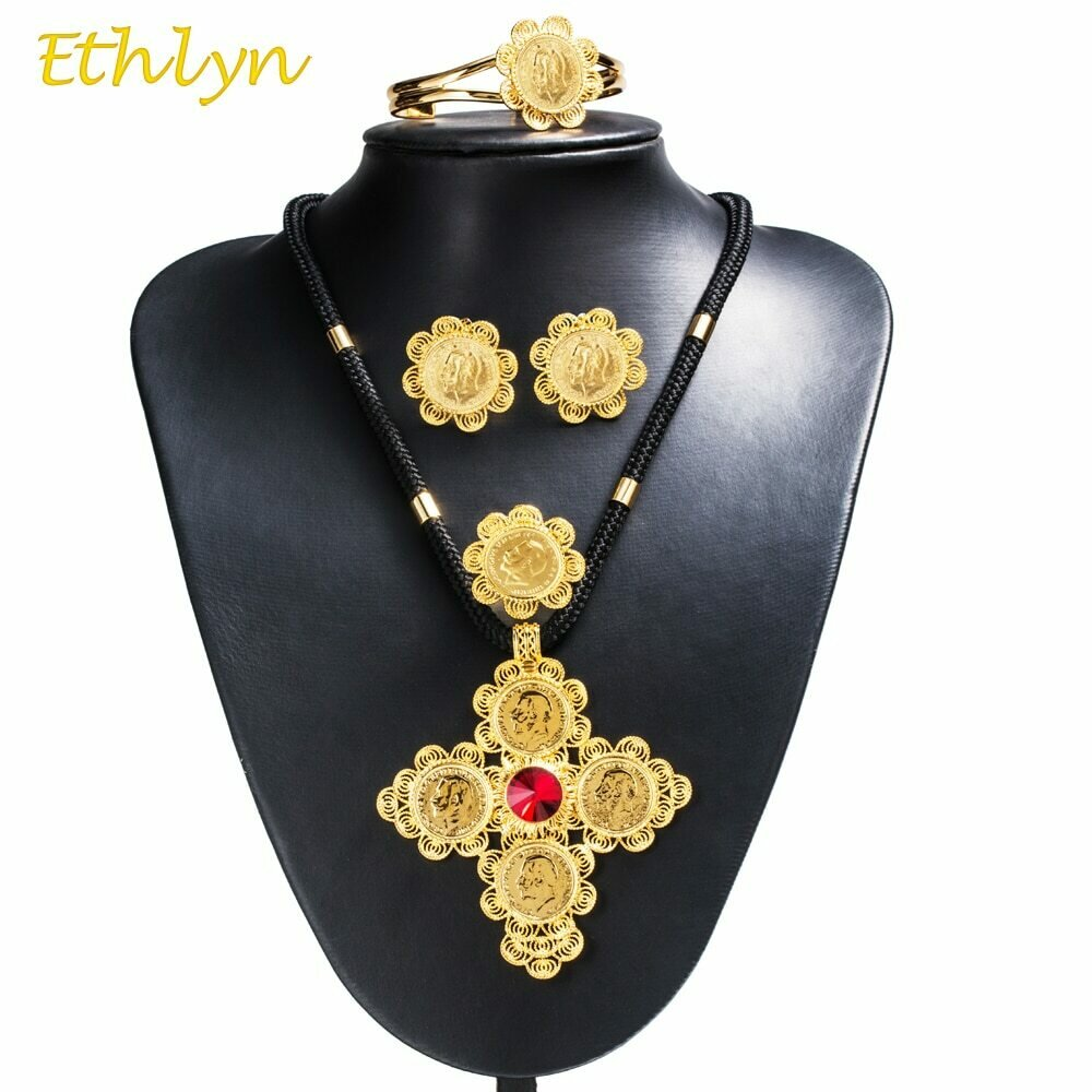 Jewelry-Sets Ethiopian Cross-Coins Chain-Stone Romantic Ethlyn Bridal Gold-Color African