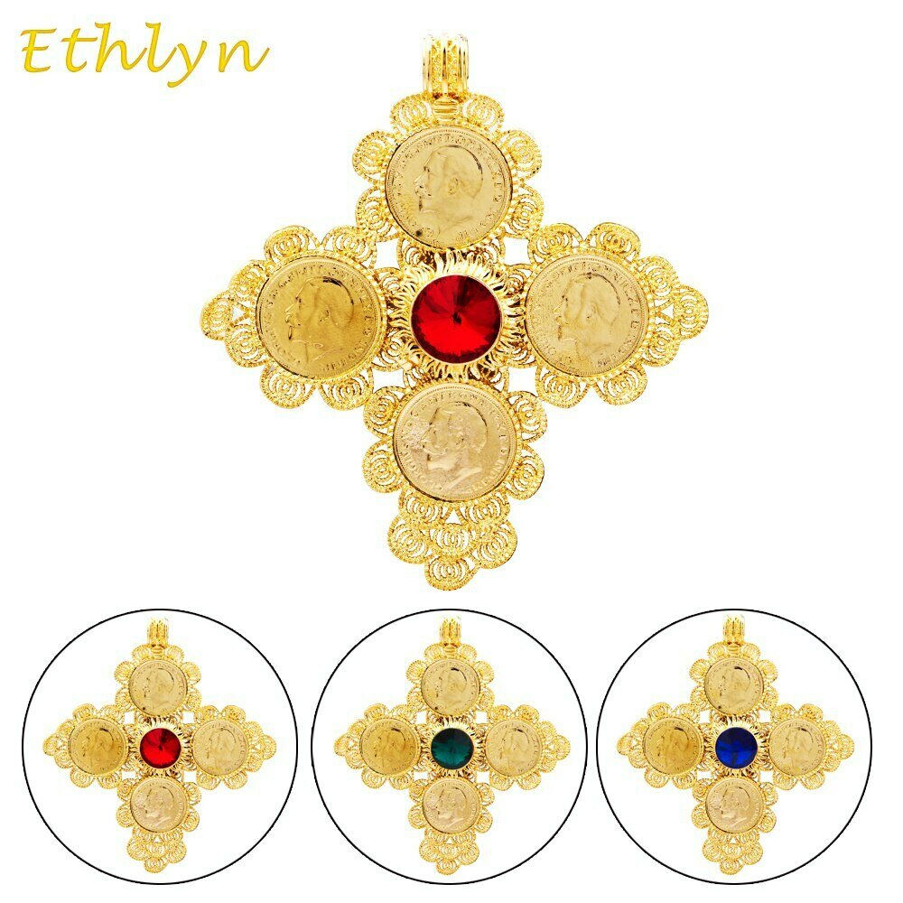 Ethiopian Cross-Pendant Ethlyn Christmas-Gift Fashion Jewelry Gold-Color Unisex for African