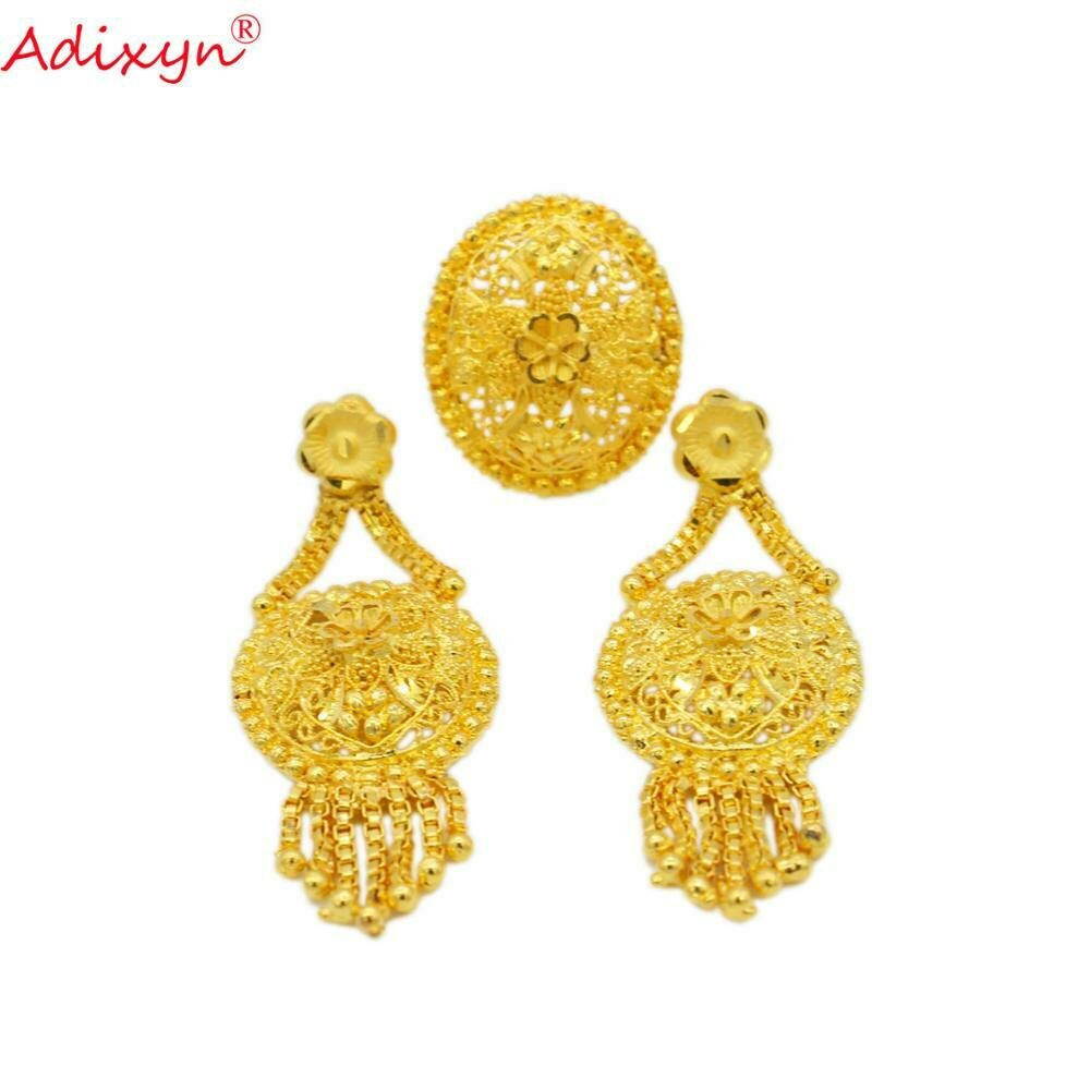 Jewelry Gifts Tassels-Ring/earring Gold-Color Arab/ethiopian Women/girls Adixyn Party