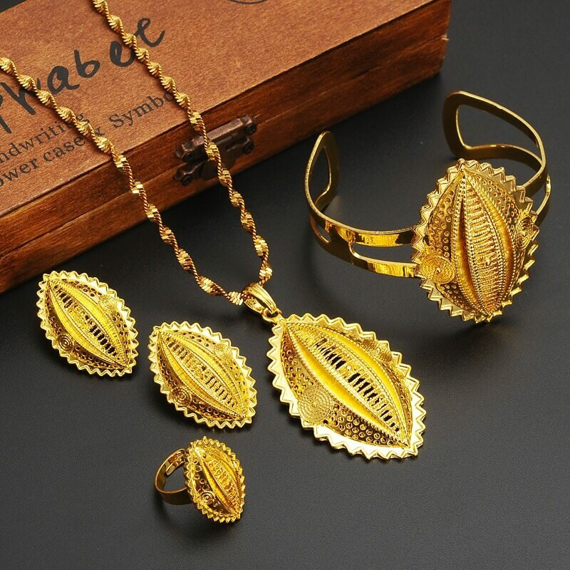 Ethnic Jewelry Habesha Ethiopian Gold Gift Gold-Filled African Women Big Wedding NEW
