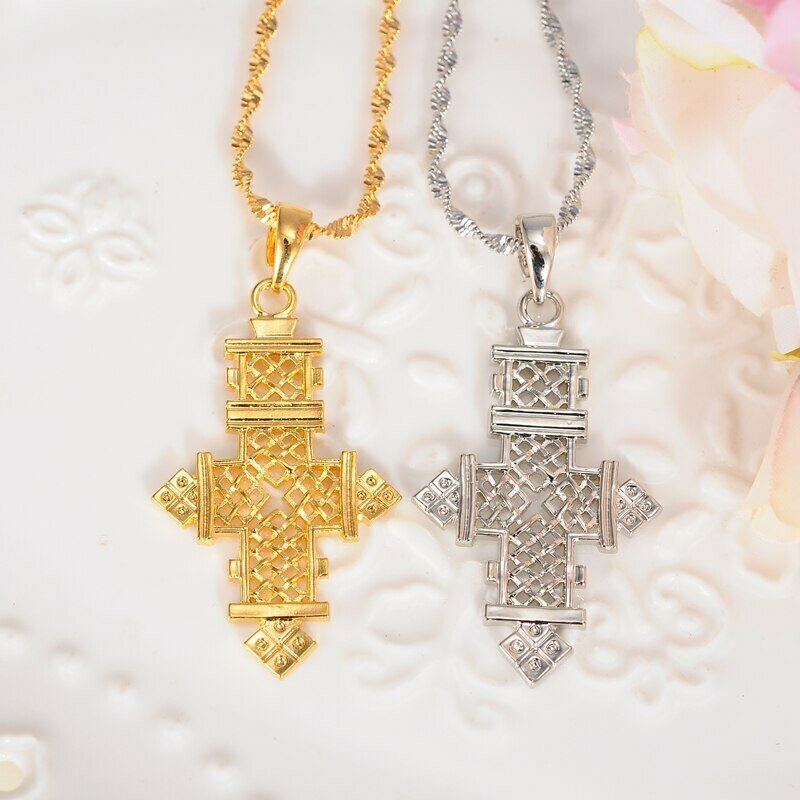 Cross-Pendant-Necklaces Ethiopia Crosses Jewelry Gold-Africa Women/men Bangrui for Big