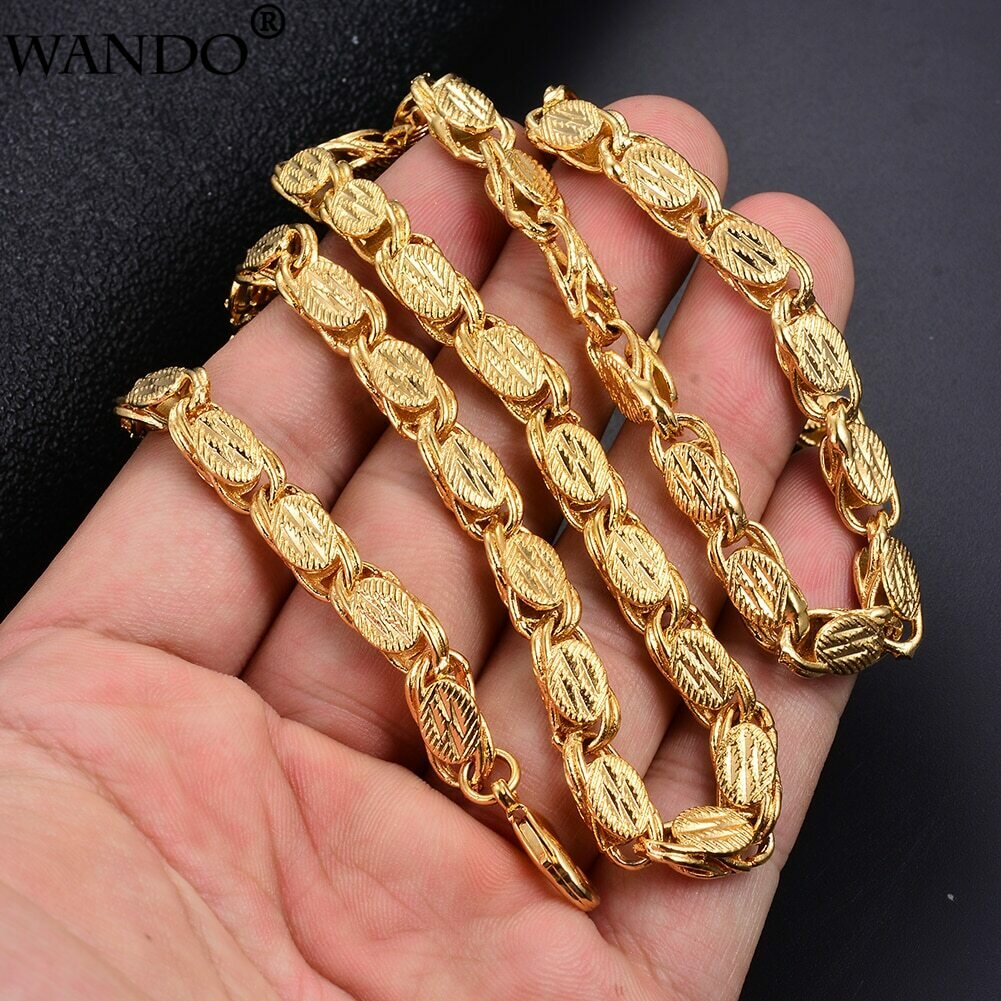 WANDO Ethnic Chains For Men Gold colour Necklaces Dubai Ethiopian Gold Jewelry 6mm width