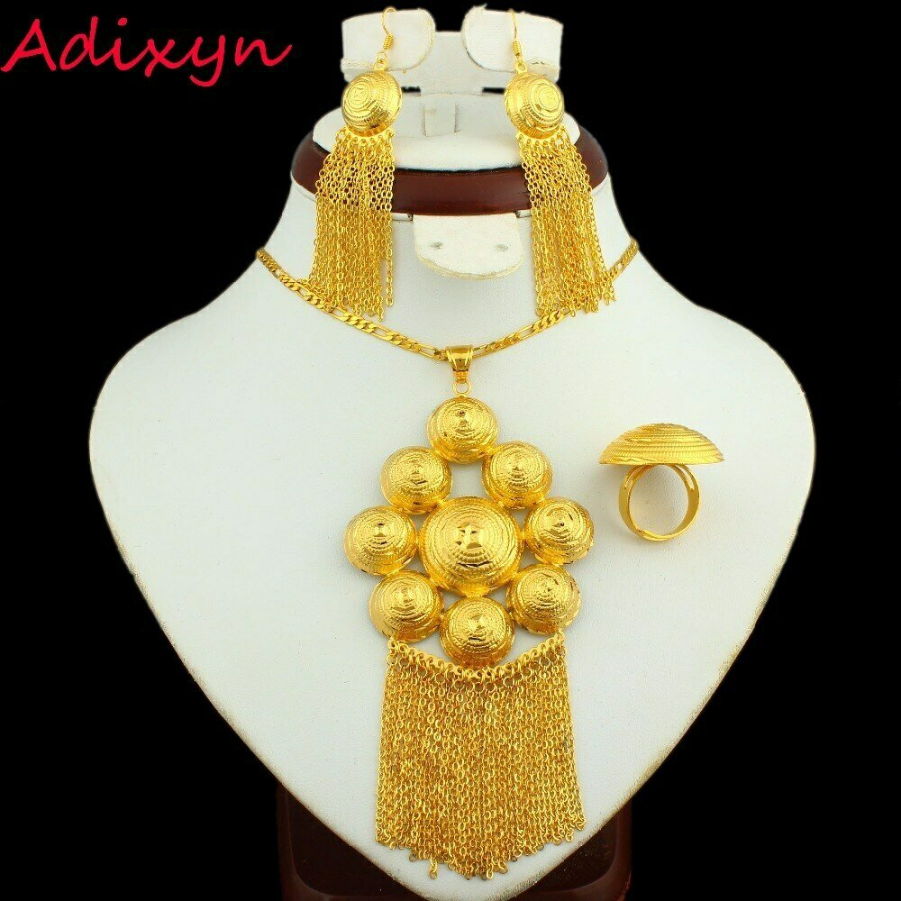 Bride Jewelry-Sets African/dubai Gifts Gold-Color Earring/ring/Pendant Middle-Easter/india