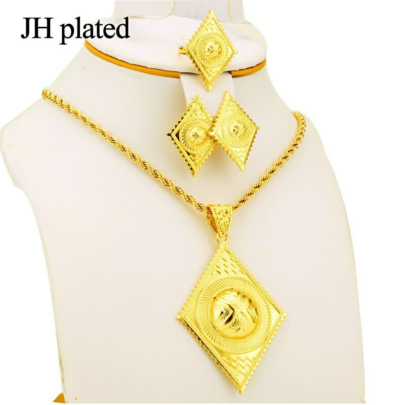 Jewelry-Sets Chain African-Set Eritrea Fashion Women's Jhplated with Black Rope