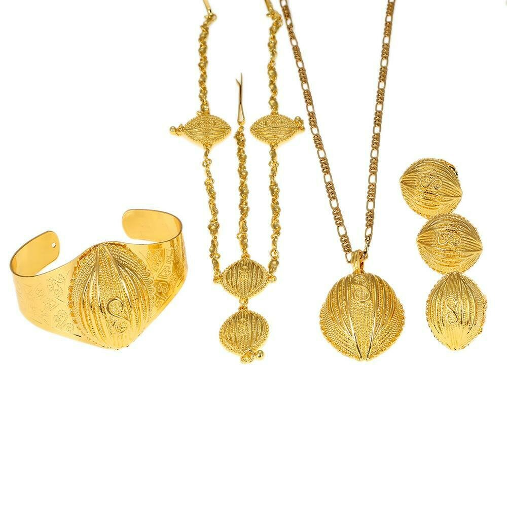 Necklace Earrings Jewelry-Sets Ethiopian Habesha Bangle Gift Gold-Color Women Forehead