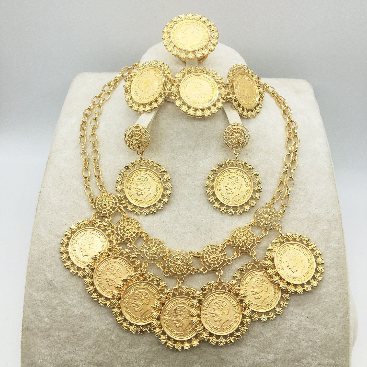 Dubai Gold Jewelry-Set Wedding-African-Beads Women Nigerian Fashion for Ethiopian New-Design