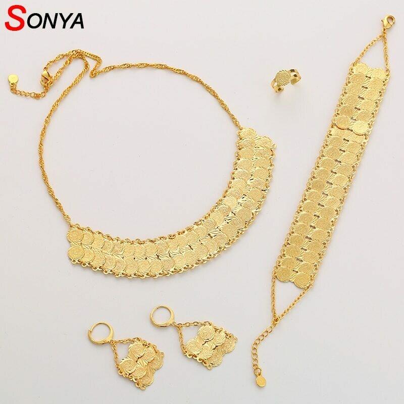 Jewelry-Set Bracelet Earrings Coin-Ring Dubai Gold-Color Antique Women African for Ethiopian