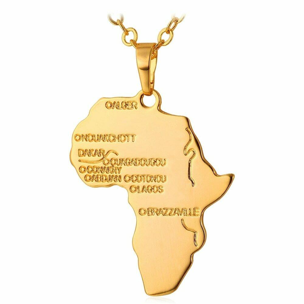 Africa Necklace Pendant Ethiopian Jewelry Chain Gift Gold-Color Men/women U7 Hiphop P545
